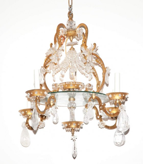 French Style Rock Crystal, Glass and Gilt-Iron Seven-Light Chandelier