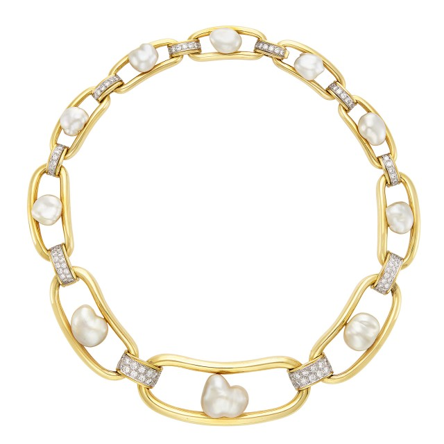 Gold, Platinum, Baroque Cultured Pearl and Diamond Necklace, David Webb