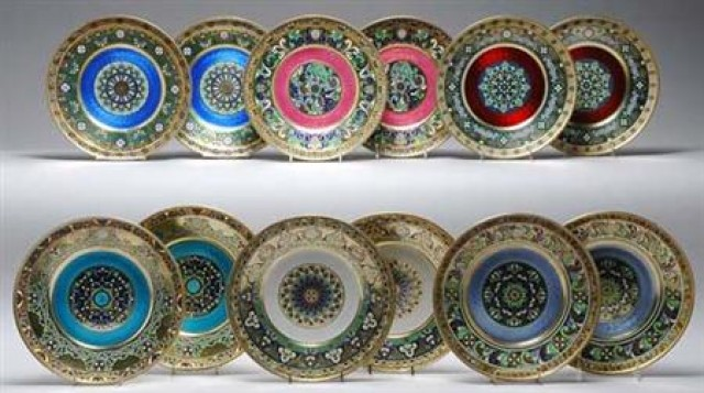 Twelve Russian Gilt Silver, Champleve, Guilloche and Plique a Jour Enamel Dinner Plates