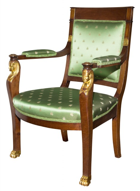 Empire Mahogany and Parcel Gilt Fauteuil à la Reine