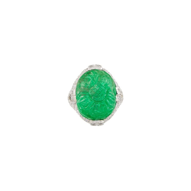 Platinum, Carved Emerald and Diamond Ring, Dreicer
