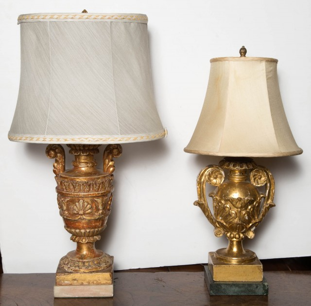 Pair of Italian Neoclassical Style Giltwood Urns