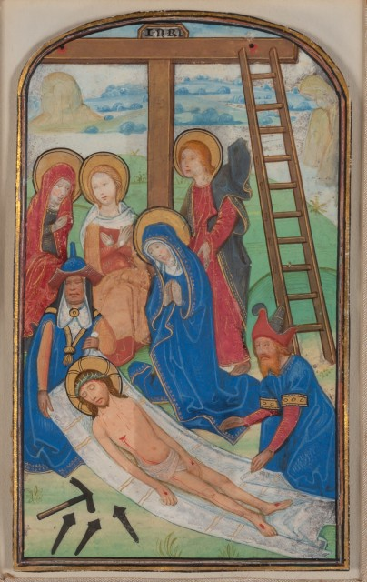 [ILLUMINATED MANUSCRIPT]  [BENING, ALEXANDER (SANDER)--attrib.]. Pair of arch-topped miniatures (of the Adoration and the Deposition respectively), likely extracted from a Book of Hours.