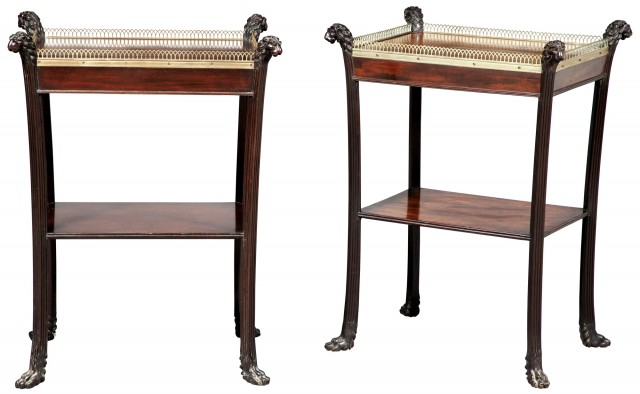 Regency Mahogany and Brass-Mounted Two-Tier Table