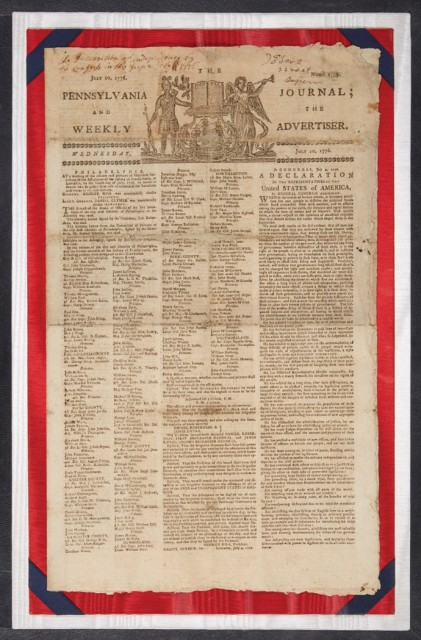 [DECLARATION OF INDEPENDENCE - EARLY NEWSPAPER PRINTING]  The Pennsylvania Journal; and the Weekly Advertiser.