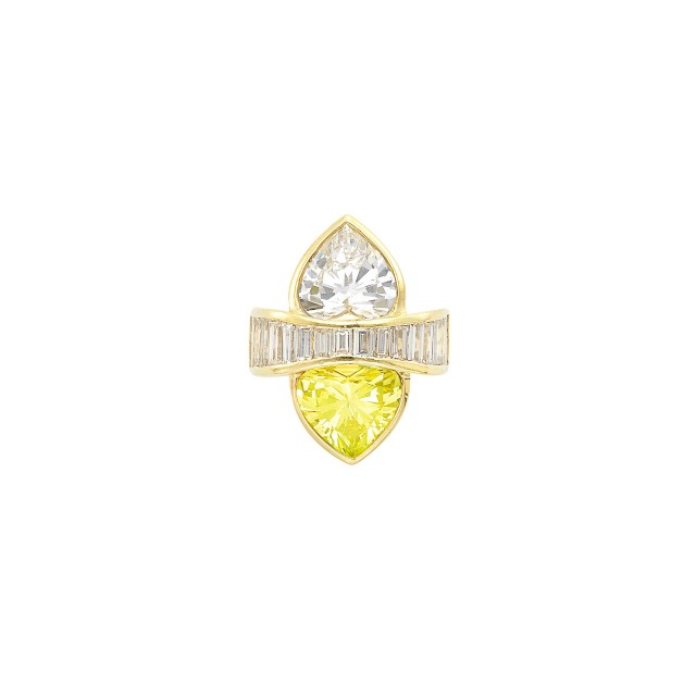 Gold, Fancy Brownish Greenish Yellow Diamond and Diamond 'Toi et Moi' Ring