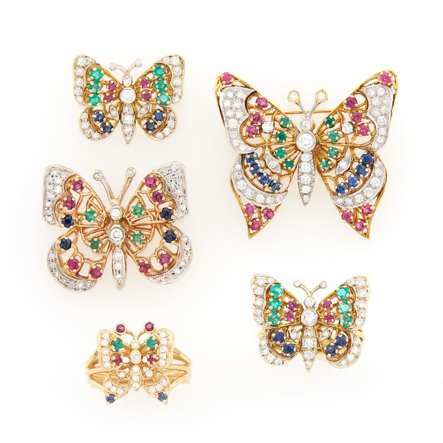 Three Two-Color Gold, Gem-Set and Diamond Butterfly Pins and Two Rings