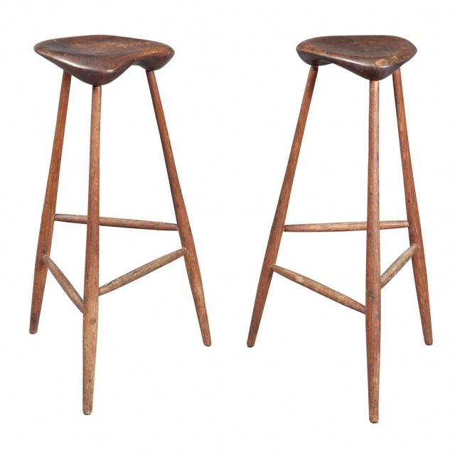 Pair of Wharton Esherick Oak and Walnut Tall Stools