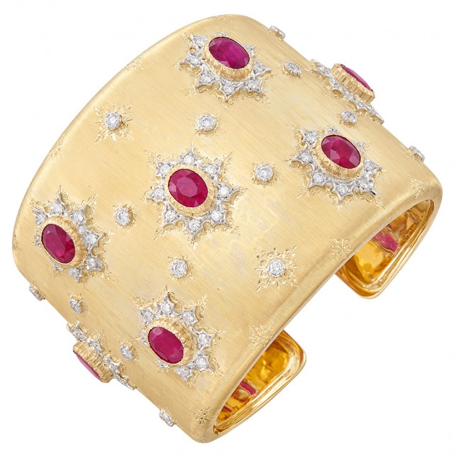 Two-Color Gold, Ruby and Diamond Cuff Bangle Bracelet