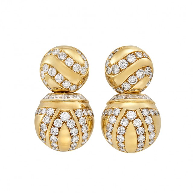 Pair of Gold and Diamond Pendant-Earrings