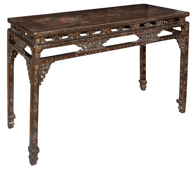 Chinese Black Lacquer and Polychrome Decorated Long Table