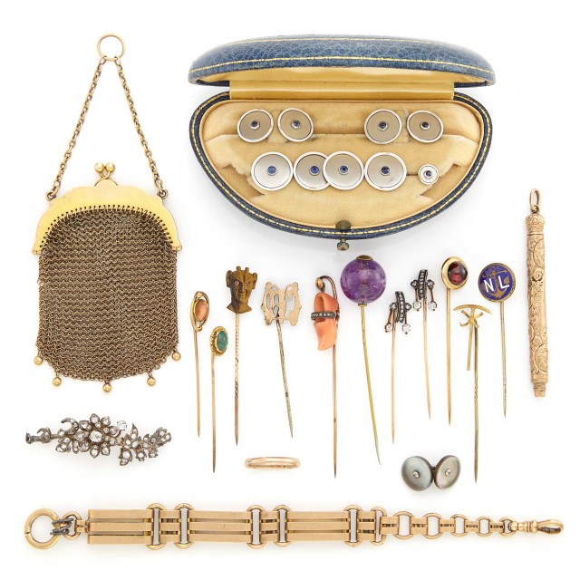 Group of Antique Low Karat Gold, Silver, Metal, Diamond, Gem-Set and Hardstone Stick Pins, Brooch, Dress Set and Accessories