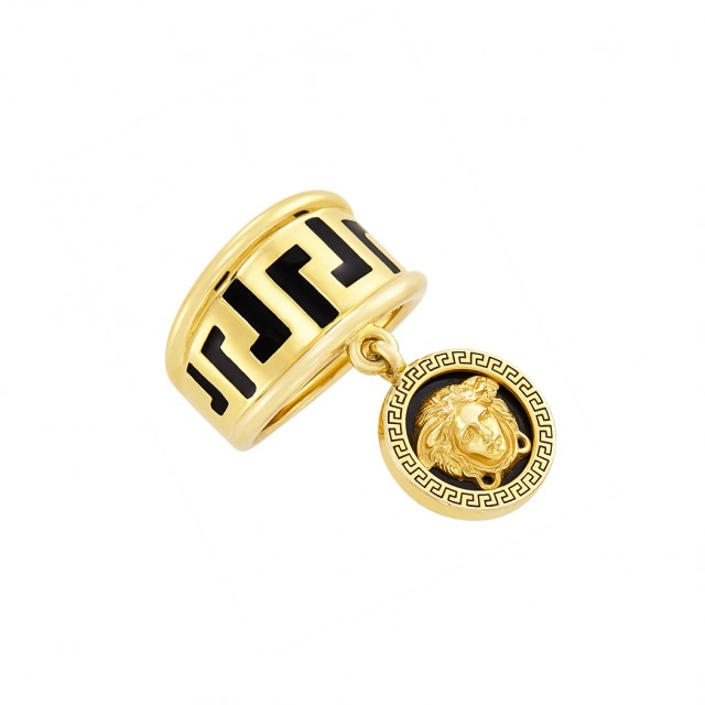 Gold and Enamel Charm Ring, Versace