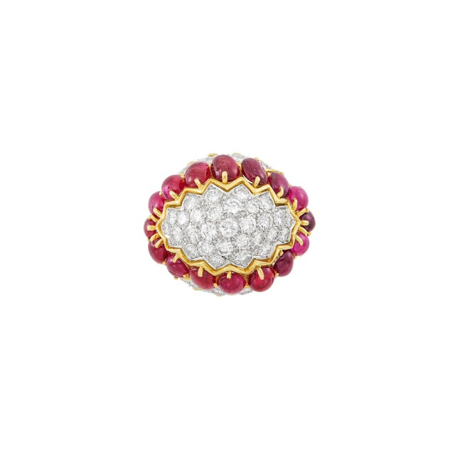 Gold, Platinum, Diamond and Cabochon Ruby Dome Ring