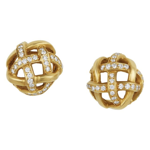 Pair of Gold and Diamond Earclips, Angela Cummings