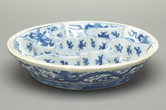 Chinese Blue and White Glazed Porcelain Sweetmeat Dish