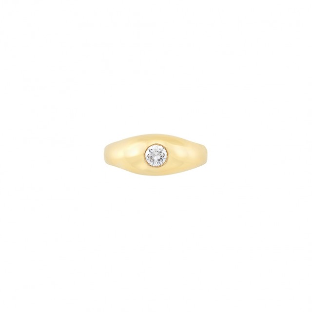Gentleman\'s Gold and Diamond Gypsy Ring
