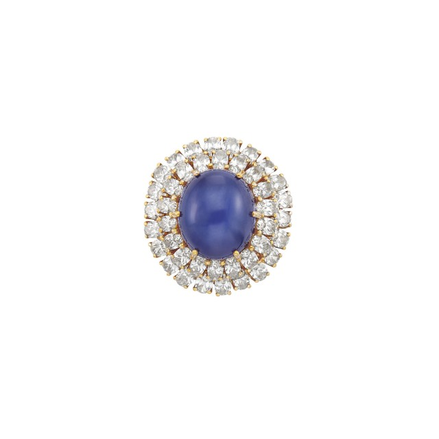 Gold-Plated White Gold, Star Sapphire and Diamond Ring