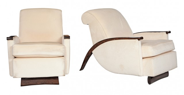 Pair of Art Deco Style Upholstered Macassar Lounge Chairs