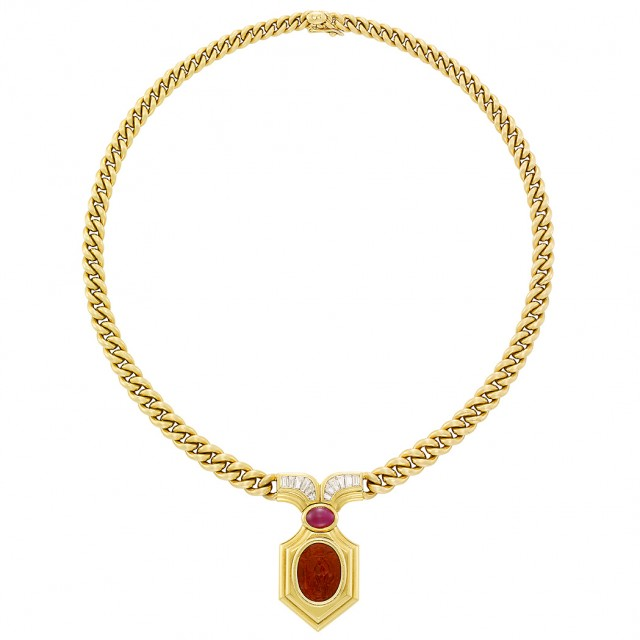 Gold, Diamond, Cabochon Ruby and Hardstone Intaglio Necklace, Bulgari