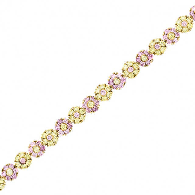 Gold, Pink and Yellow Colored Diamond Floret Bracelet