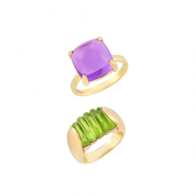 Gold and Peridot Ring, Bulgari, and Gold and Amethyst Ring, Tiffany & Co., Paloma Picasso