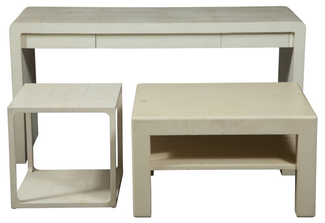 Karl Springer Shagreen White Faux Low Table; Together With White Linen Covered Two-Tier Table and Faux Shagreen Low Table