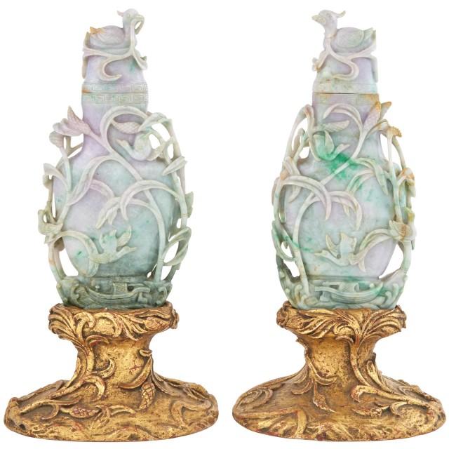 Pair of Chinese Jade Covered Vases