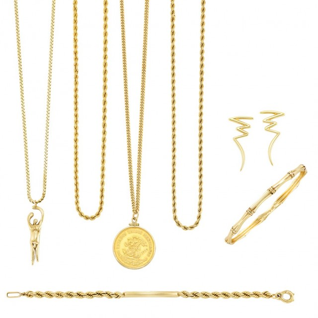 Group of Gold Jewelry, Tiffany and Co., and Gold Jewelry