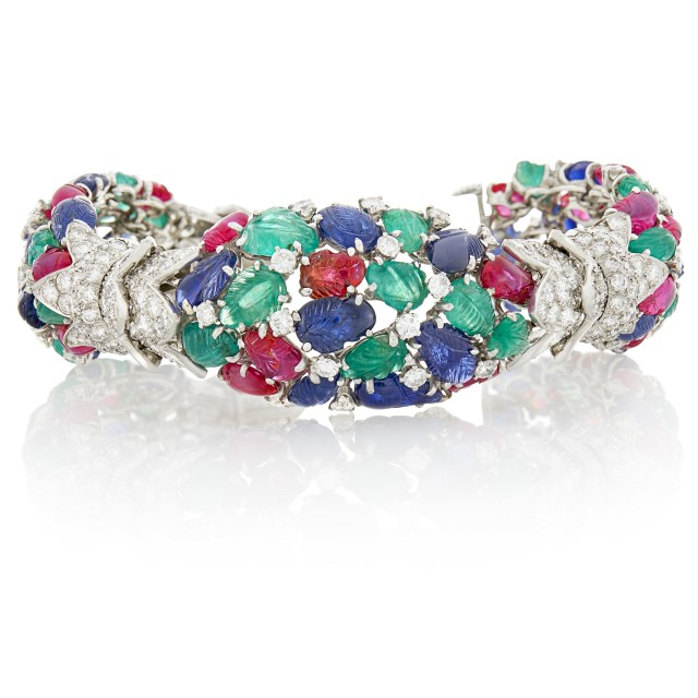 David Webb Platinum, White Gold, Carved Colored Stone and Diamond 'Tutti Frutti' Bracelet
