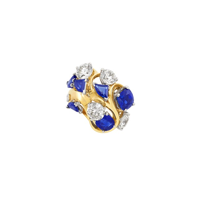 Gold, Platinum, Sapphire and Diamond Ring