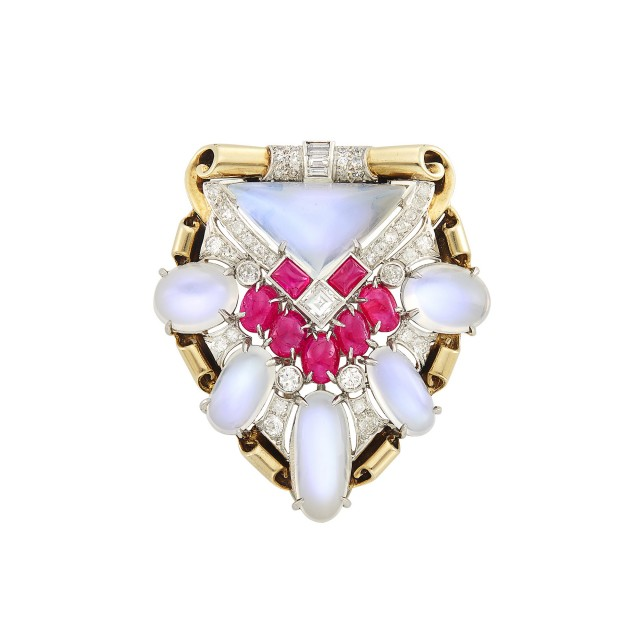 Platinum, Gold, Moonstone, Ruby and Diamond Clip-Brooch