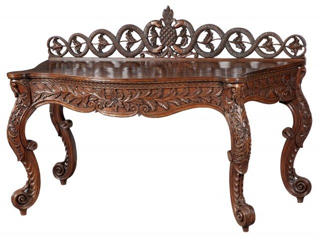 Anglo-Indian Carved Rosewood Side Table