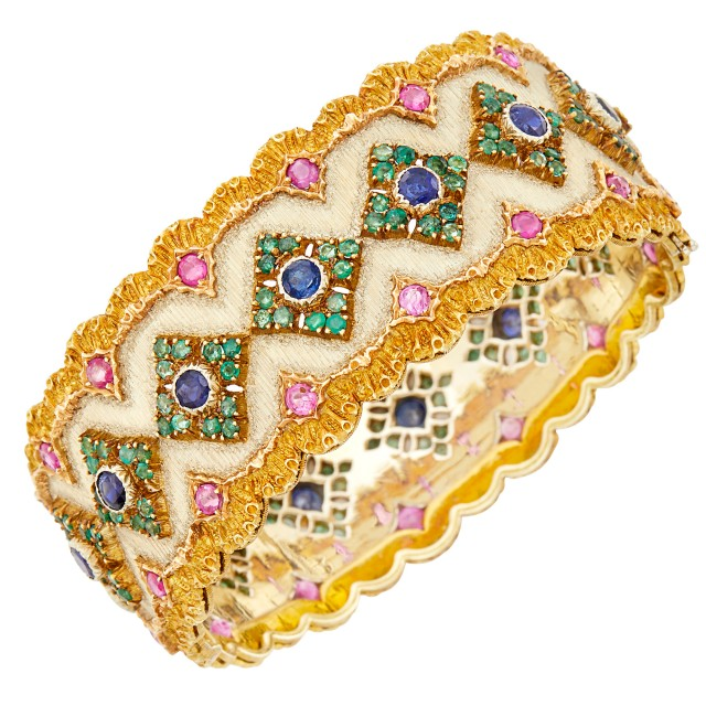 Buccellati Two-Color Gold and Gem-Set Cuff Bangle Bracelet