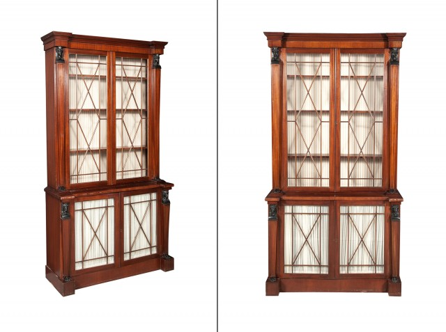 Pair of Regency Style Mahogany and Part-Ebonized Bookcases