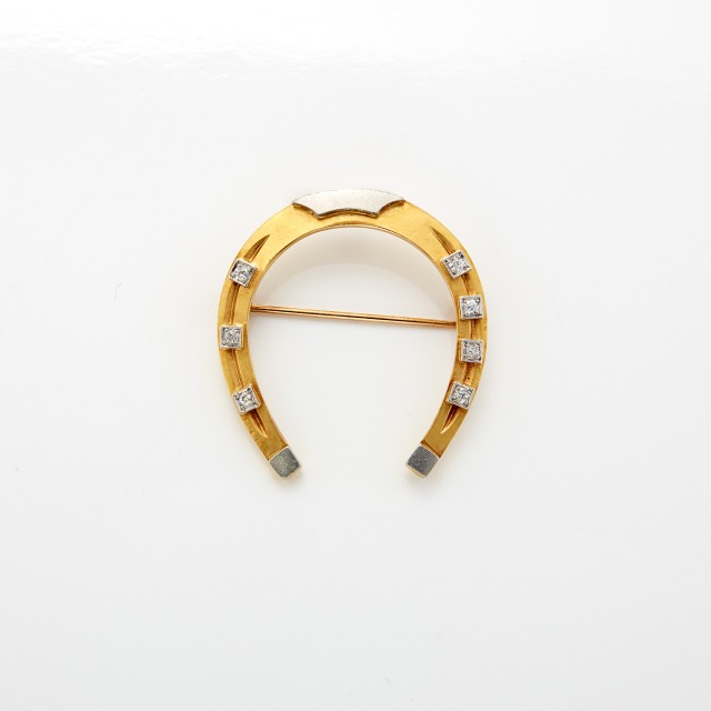 Two-Color Gold and Diamond Horseshoe Pin