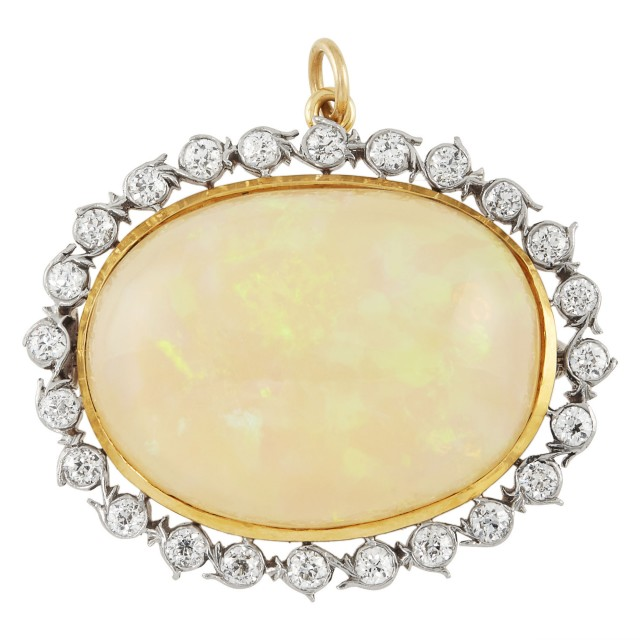 Platinum-Topped Gold, Opal and Diamond Pendant-Brooch, Tiffany and Co.