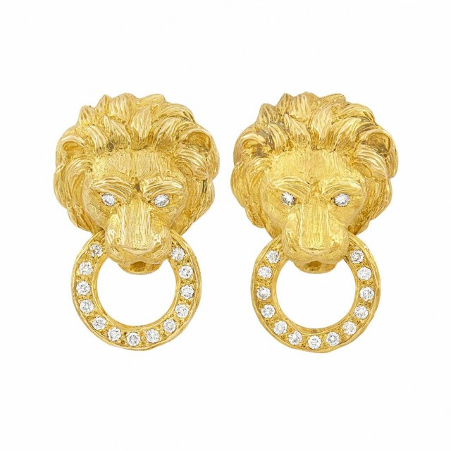 Pair of Gold and Diamond Lion Head Earclips, Van Cleef and Arpels