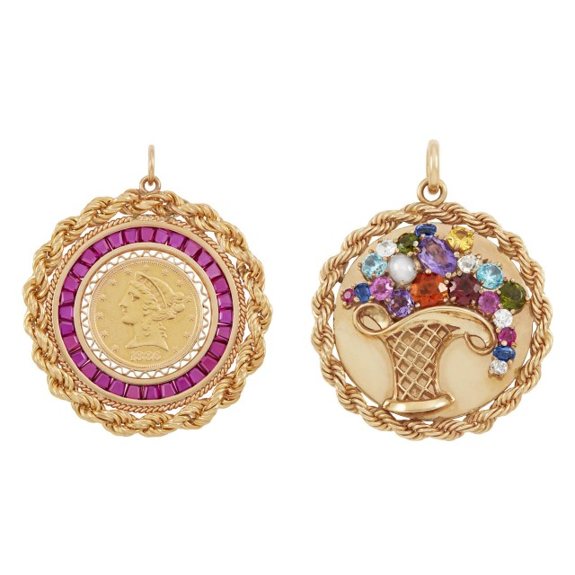 Two Gold, Diamond, Gem-Set and Gold Coin Charm Pendants