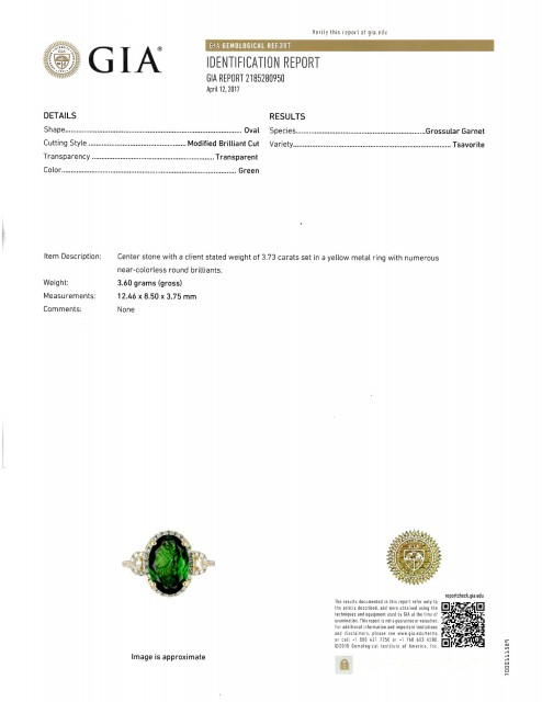 Gold, Tsavorite Garnet and Diamond Ring