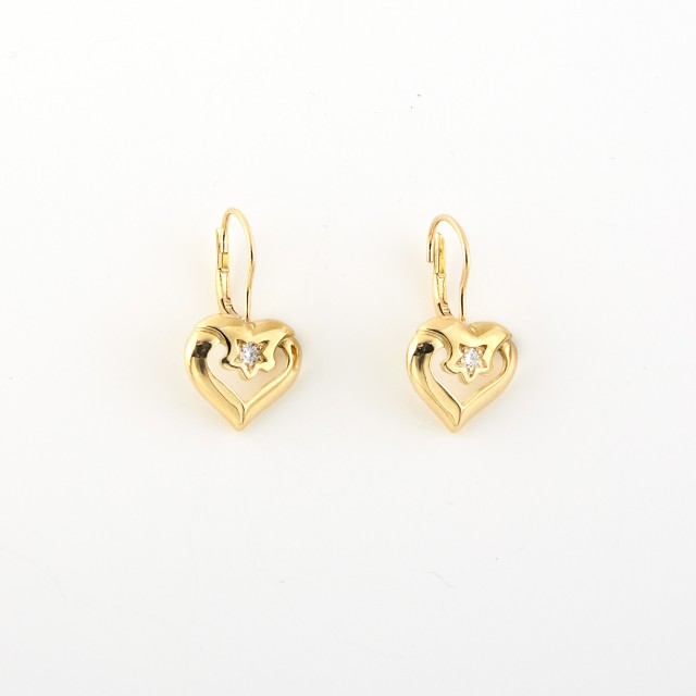 Pair of Gold and Diamond Heart Earrings