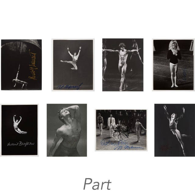 [DANCE AUTOGRAPHS - RUDOLF NUREYEV, MIKHAIL BARYSHNIKOV, etc.]  A fine, large group of one hundred ten dance photos, including eighty eight signed images of the greatest male dancers of the 20th century