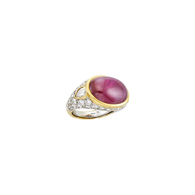Repossi Gold, Cabochon Ruby and Diamond Ring
