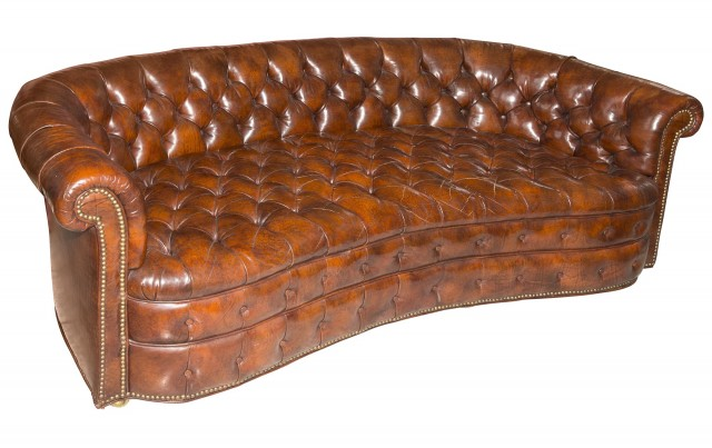 Leather Curved Chesterfield Sofa