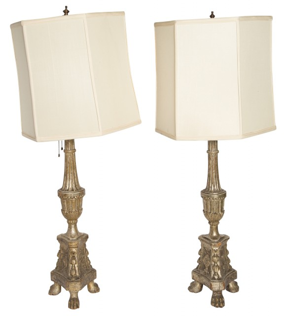 Pair of Italian Neoclassical Silver Leafed Wood Lamps