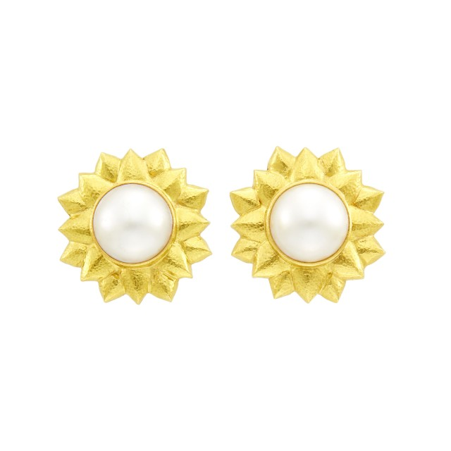 Elizabeth Locke Pair of Hammered Gold and Mabé Pearl Flower Earclips