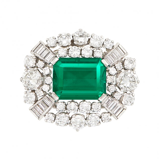 Platinum, Emerald and Diamond Brooch