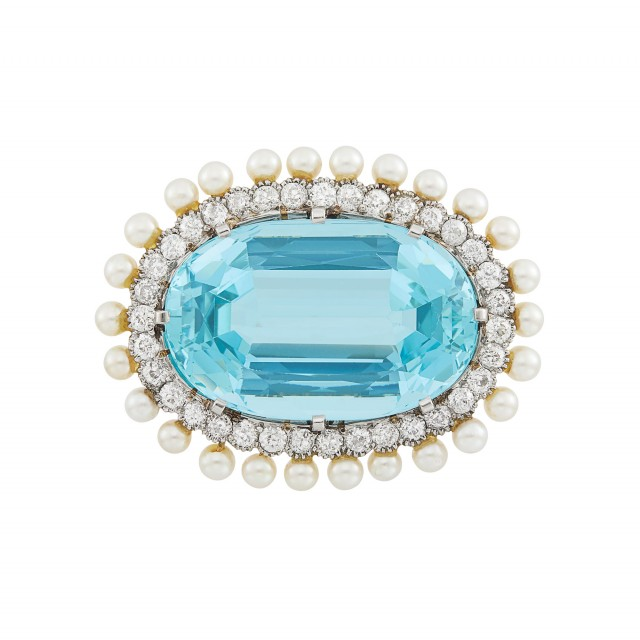 Platinum, Gold, Aquamarine, Diamond and Pearl Brooch, Marcus and Co.