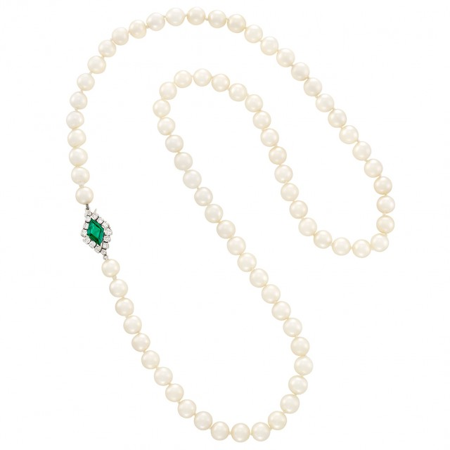 Cultured Pearl Necklace with Platinum, Emerald and Diamond Clasp