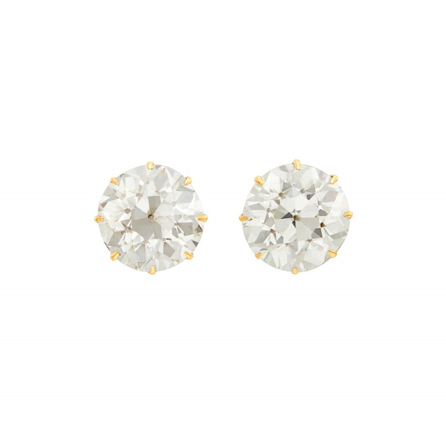 Pair of Gold and Diamond Stud Earrings